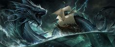 White Crystal Dragon by sandara on DeviantArt Fantasy Creatures, Mythical Creatures, Sea Creatures, Thor, Dragon Fight, Dragons, Sea Serpent, Vikings, Water Dragon
