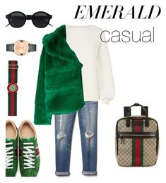 """""""EmeraldCasual"""" by giopanagi on Polyvore featuring Gap, Gucci, Helmut Lang, MSGM, Movado and emeraldgreen Msgm, Helmut Lang, Gap, Gucci, Casual, Polyvore, Fashion, Moda, Fasion"""