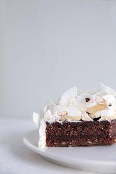 raw chocolate banana cake with coconut whipped cream