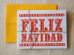 Feliz Navidad Holiday Cards from papercitydesign Mixing Bowls, Cancun, Holiday Cards, Mexico, Seasons, Meals, City, Paper, Board