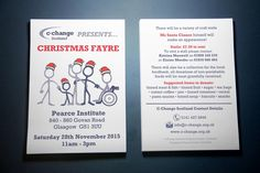 C-CHANGE XMAS FAYRE – Stationery flyer design for C-Change Scotland's Christmas Fayre 2015 as a double sided print out.