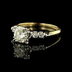 Vintage 14K Two Tone Gold and Diamond Engagement Ring