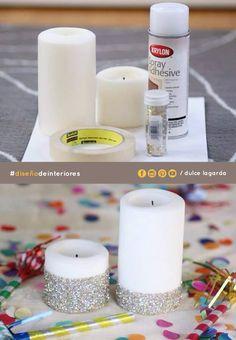 ¡Hazlo tu mismo! Lo único que necesitas son: velas, tape, pegamento en spray y diamantina. #dulcelagarda #diseñodeinteriores #ensenada