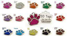 Laser Etched Glitter Paw Pet ID Tags Custom Personalized for Dog  Cat Paw Print Tag *** Find out more about the great product at the image link.