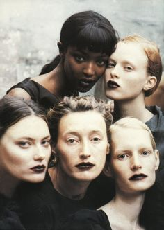 Naomi Campbell, Karen Elson, Shalom Harlow, Marie-Sophie Willson-Carr, and Kirsten Owen photographed by Peter Linbergh.