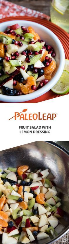 Paleo fruit salad with lemon dressing. This colorful salad has a nice variety of different berries and fruits, and it's easy to make ahead for later.