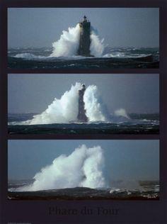 Waves Crashing against a Lighthouse! > Le Phare du Four III by Philip Plisson