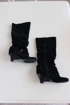 Naughty Monkey Size 10M Suede Slouch Knee High Wedge Boots BLACK Buckle  #NaughtyMonkey #KneeHighBoots