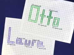 Here's a fun activity for kids that helps them practice basic Students draw their names on graph paper and label the area of each letter in square units. Find this on the Math For Kids, Fun Math, Math Activities, Geometry Activities, Math Math, Math Fractions, Year 2 Maths, Maths Area, Area And Perimeter
