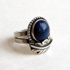 Vintage Navajo Sterling Silver and Lapis Lazuli by vintagedazzle