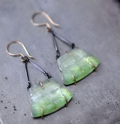 Carved Prehnite sterling silver and 14k yellow by LaurelsBench