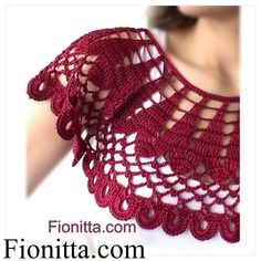 Crochet cherry collar
