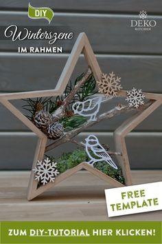 DIY: pretty Christmas decoration with winter scenes in star frames- Star wreath - Outside Christmas Decorations, Christmas Wood Crafts, Wooden Christmas Trees, Diy Christmas Gifts, Christmas Art, Christmas Projects, Holiday Crafts, Vintage Christmas, Christmas Ornaments