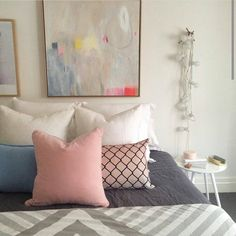 "Eadie says ""doesn't this bedroom look just a little bit gorgeous? We love the colour combos! This is a regram from the clever gals @norsuinteriors. Thanks for featuring our soft pink velvet and linen blue and white cushions.......very cool indeed x"" www.eadielifestyle.com.au #eadie_lifestyle #eadiecushions #linencushions #featherfilledcushions #beautifulhomewares #pastelcushions #pastelobsession"