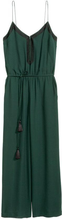 H&M - Embroidered Jumpsuit - Dark green - Ladies