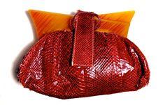 stunning red snake skin purse