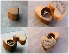 Heart Shaped Ring Box- Mini - Wooden Ring Box- Engagement Ring- Personalized…