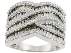 Champagne And White Diamond 2.30ctw Baguette And Round 10k White Gold Ring