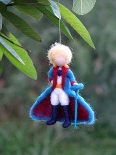 Ornamento de la Navidad Principito aguja fieltro por Made4uByMagic