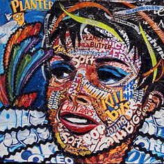Buy Judy on Mixed Media - Candy wrapper collage by Laura Benjamin. Laura Benjamin is represented by The White Room Gallery Collage Portrait, Collage Art, Collage Design, Portrait Ideas, All Pop, Street Art, High School Art, Identity Art, Paperclay