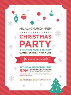 Christmas party poster and ticket design