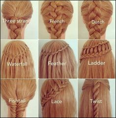 Here are some examples of gorgeous braids that are very easy after practicing it a few times I learned french and dutch braids in a hour it is super fun to learn all these braids and I am looking forward to putting these braids to good use!!!