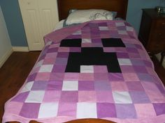 minecraft creeper fleece blanket i made in purple for one of my daughters :)