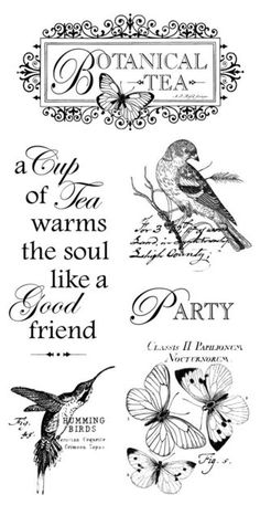 Botanical Tea cling stamp 1 from Graphic 45 Just few of the new things I will be carrying on my page. If you are interested in buying these just drop me a note and let me know. Graphic 45, Etiquette Vintage, Foto Transfer, Motifs Animal, Images Vintage, Card Sentiments, Decoupage Paper, Vintage Labels, Vintage Ephemera