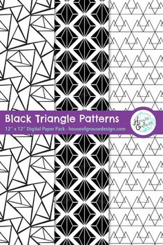 Monochrome triangular pattern designs in black and white. High quality printable backgrounds for scrapbooks, diy cards, journals and websites. By House of Grouse Design, the cutest digital scrapbooking warehouse. Monochrome Pattern, Geometric Pattern Design, Pattern Designs, Retro Pattern, Cute Pattern, Surface Pattern Design, Paper Design, Fabric Design, Triangular Pattern