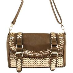 Click Here and Buy it on Amazon.com Price:$39.99 Amazon.com: MMS New Arrival Fashion Unique Golden Round Rivet Stud and Buckle Detailed Solid Embossed Messanger Bag / Crossbody Bag in Taupe: Clothing