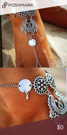 """antique silver coin anklet barefoot sandals This beautiful feminine anklet featured in a vintage antique silver color. Barefoot sandals. Measurements are from the tow to the top of the foot is 6 3/4"""" and bracelet is 2 1/4"""" diameter with extender chain of  2 3/8"""". Made out of alloy reflecting vintage antique silver. Sold separately.040520174522001 Jewelry Bracelets"""