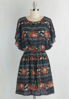 Altogether Entrancing Dress - Multi, Floral, Belted, Casual, Boho, Festival, A-line, Woven, Good, Mid-length, Short Sleeves