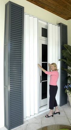 shutter type - from the inside - Pocket Accordion Hurricane Shutters Accordion Hurricane Shutters, Accordion Shutters, Design Your Dream House, House Design, Cafe Shutters, Hurricane Preparedness, Disaster Preparedness, Security Shutters, Home Security Tips