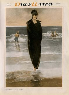 Plus Ultra Magazine Cover, 1919 Original Illustration,  Women's Beach Fashion Clothes 1910s, Wall Decor by CarambasVintage on Etsy https://www.etsy.com/listing/241663667/plus-ultra-magazine-cover-1919-original
