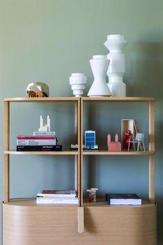 Etage by Swiss designer Moritz Schmid is available in Oak or Aubergine. Bookshelves, Bookcase, Library Inspiration, Spring Colors, Built Ins, Modern Decor, Home Office, Decor Styles, Designer
