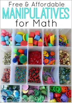 HUGE list of Free & Affordable Math Manipulatives for Kids to use with hands-on learning activities! Plus activity ideas & storage tips!