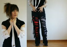Japanese visual kei band outfit, stylish look with punk pants and white tie over black top.