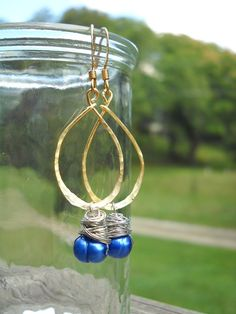 hammered gold wire earrings with cobalt blue by RisingDawnBoutique, $20.00