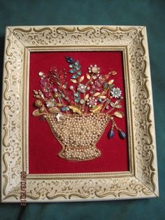 Looove this..... VTG FOLK ART COSTUME JEWELRY FLOWER BASKET DISPLAY FRAMED ORIG RED VELVET SIGNED