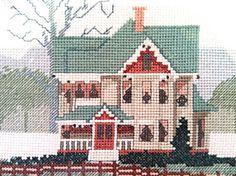 Large Vintage Cross Stitch Winter Scene for sale on Etsy