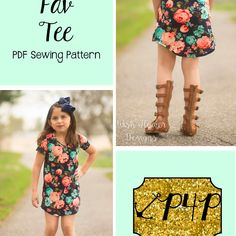 This is a PDF sewing pattern and tutorial to teach you how to create these garments. THIS IS NOT A FINISHED PRODUCT. TheFav Tee is a great youth fit with some adorable options to boot! It is fitted at chest and relaxed through waist and hip. Sleeve option include: short, 3/4, and long. Neckline option include: round and v neck. Hem and length options include: banded knot hem, shirt length side vent hem, tunic side vent hem, and curved dress length. This top can go year round and m...