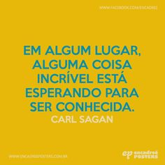 Em algum lugar, alguma coisa incrível está esperando para ser conhecida. - Carl Sagan  http://www.encadreeposters.com.br/