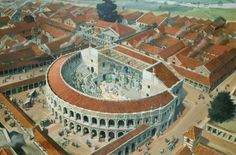 Possible reconstruction of the Roman Theatre, Colchester (UK) by Peter Froste.