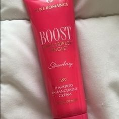"""S•A•L•E!! Boost Enhancement Cream by Pure Romance Sale! Boost enhancement cream does EXACTLY what it says it will - BOOST you to the finish! It's absolutely amazing and I recommend this product to ANYONE who wants to spice things up in the bedroom! This was part of my """"Goodie"""" bag that I took to parties to allow the ladies to taste test the products before they buy!! Taste tests were completed with clean Q-tips every time! Bundle and save and extra 10% ☺️ I quit my Pure Romance sales and now…"""