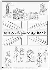 English worksheet: first page of an English copybook