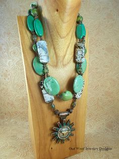 Cowgirl Necklace Set  Chunky Green Howlite Turquoise and Fire