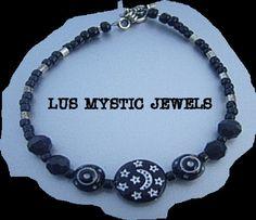 Cosmic Moon Star Bracelet  Black Glass Beaded by Lusmysticjewels, $7.50