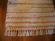 Hand Twined Rag Rug with Hand-tied Fringe in Pinks by LibbyLuLa