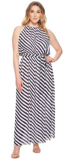 Plus Size Striped Maxi Dress Oufits - Plus Size Maxi Dress - Plus Size Fashion for Women - alexawebb.com #plussize #alexawebb