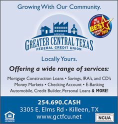 Greater Central Texas Federal Credit Union provides Auto Financing services in Killeen, TX. For more information visit - https://gctfcu.net/Default.aspx?pid=7